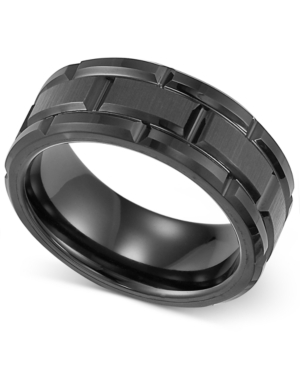 Triton Men's Ring, Black Tungsten 8mm Matrix Band