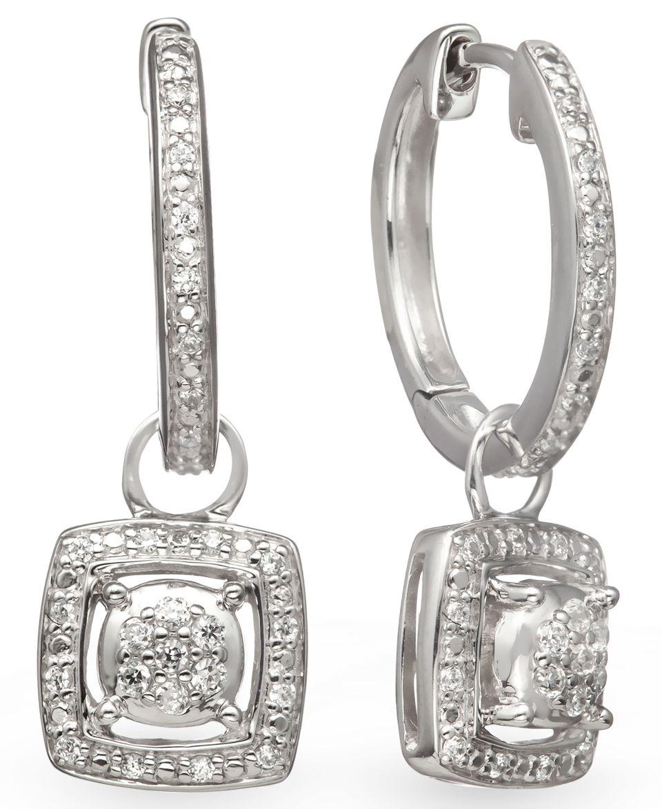 14k Gold and Sterling Silver Earrings, Diamond Leverback Earrings (1/10 ct. t.w.)   Earrings   Jewelry & Watches