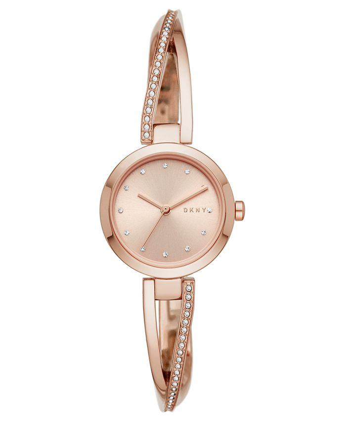 DKNY - Women's Crosswalk Rose Gold-Tone Stainless Steel Bangle Bracelet Watch 26mm