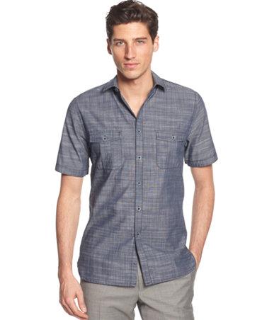 Alfani black warren solid short sleeve textured shirt for Alfani mens shirt size chart