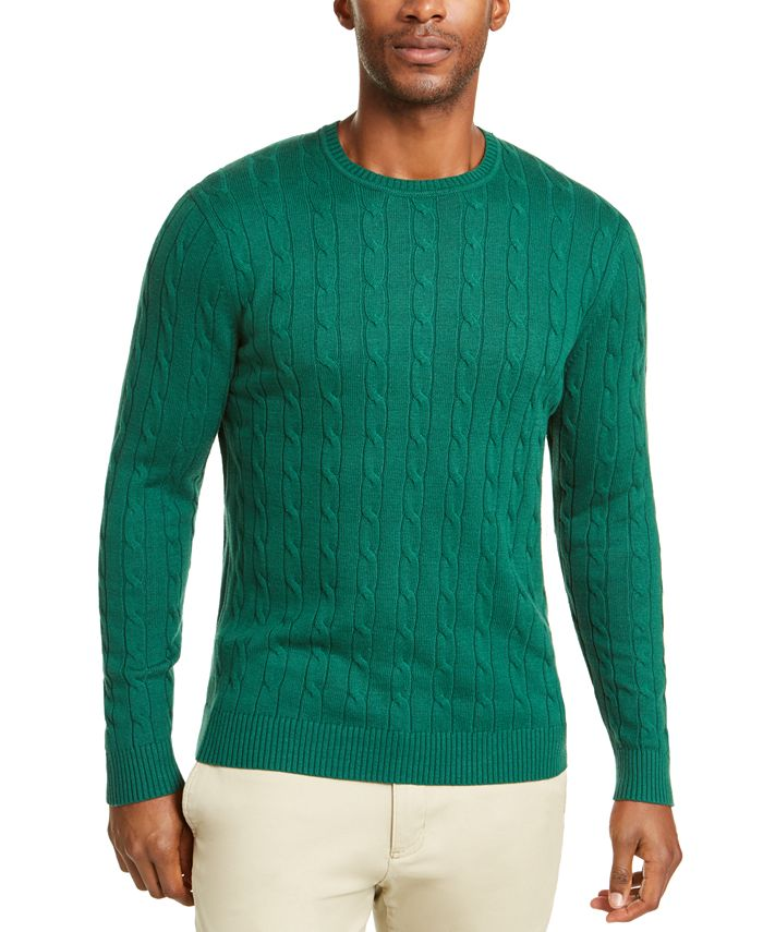 Club Room - Men's Cable Crewneck Sweater