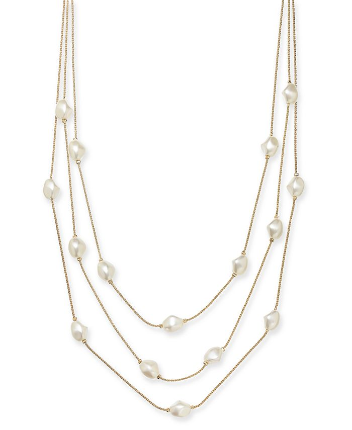 """Charter Club - Gold-Tone Imitation Pearl Multi-Row Necklace, 20"""" + 2"""" extender"""