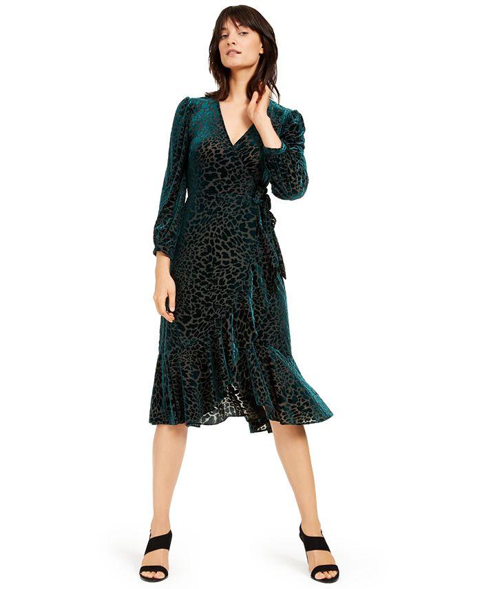 Calvin Klein - Burnout Velvet Animal-Print Wrap Dress