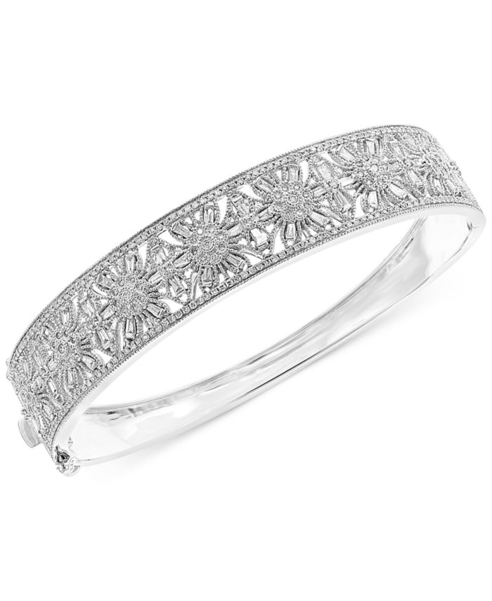 EFFY Collection EFFY® Diamond Floral Openwork Bangle Bracelet (1-3/8 ct. t.w.) in 14k White Gold & Reviews - Bracelets - Jewelry & Watches - Macy's