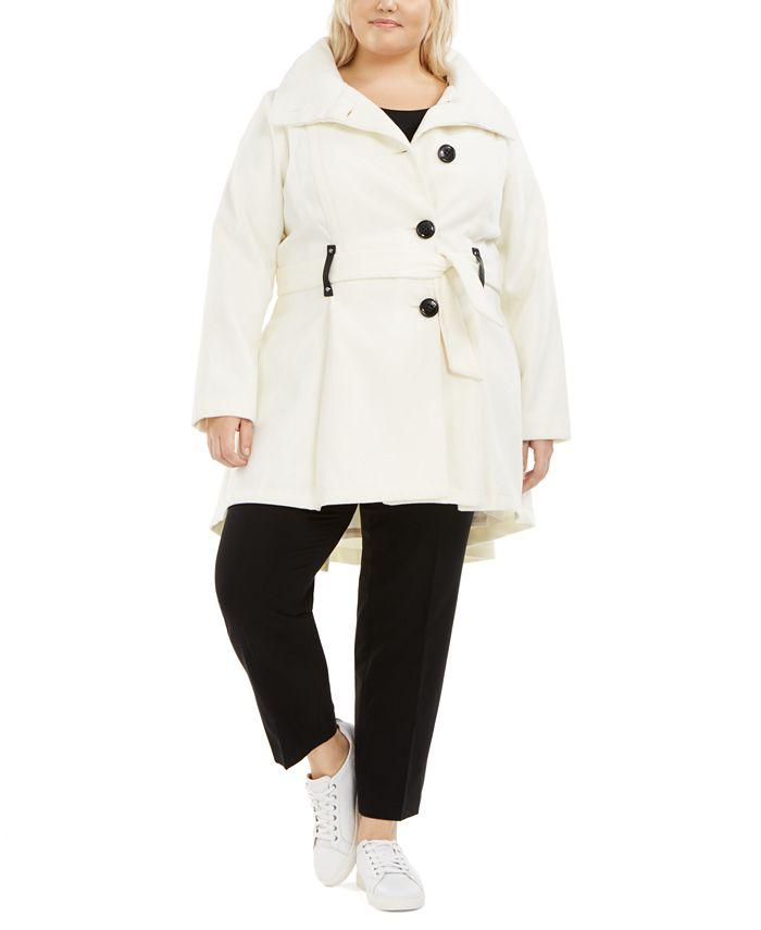 Madden Girl - Juniors' Plus Size Drama Skirted Coat