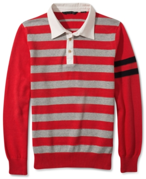 Sean John Sweater Striped Rugby Sweater
