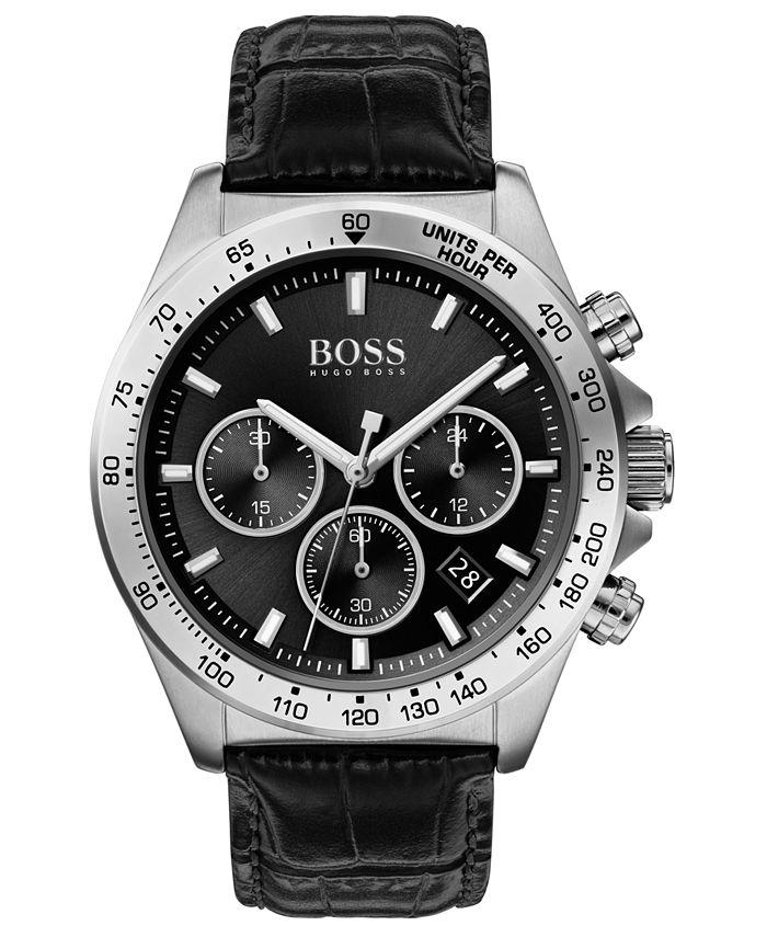 BOSS - Men's Chronograph Hero Black Leather Strap Watch 43mm
