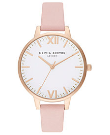 Olivia Burton Women's Dusty Pink Leather Strap Watch 34mm