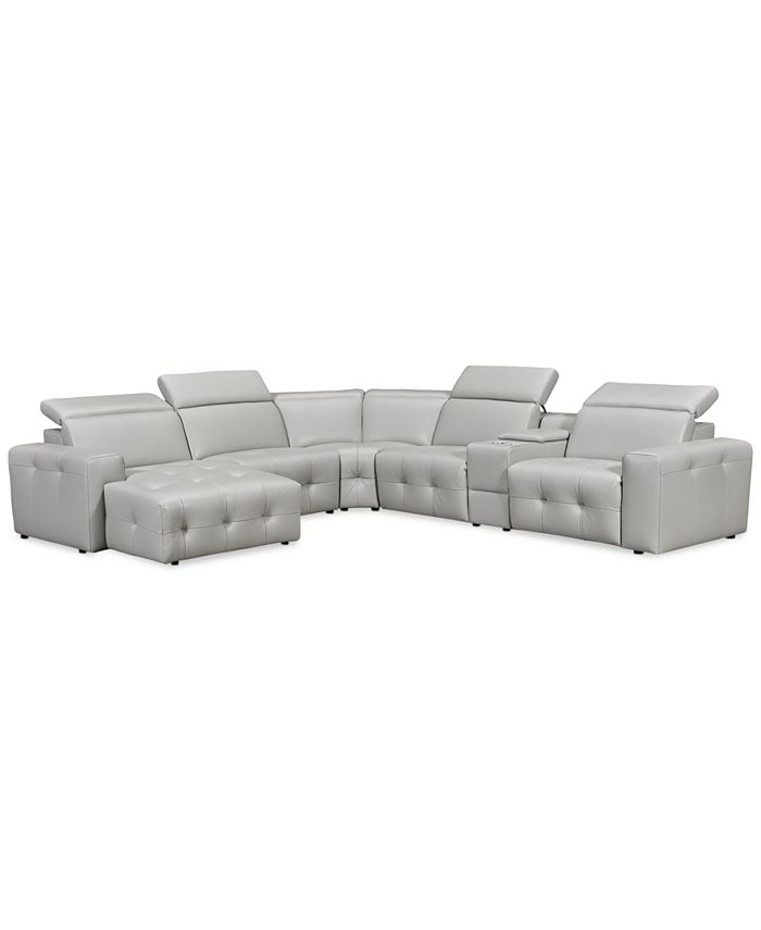 Furniture - Haigan 6-Pc. Leather Chaise Sectional Sofa with 1 Power Recliner,