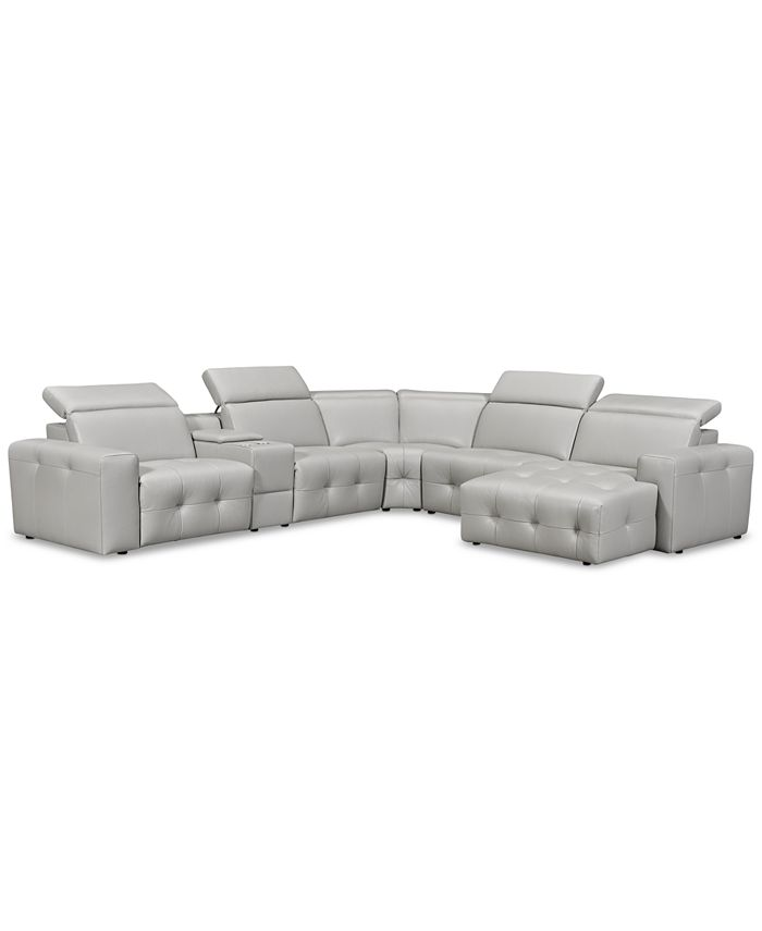 Furniture - Haigan 6-Pc. Leather Chaise Sectional Sofa with 2 Power Recliners