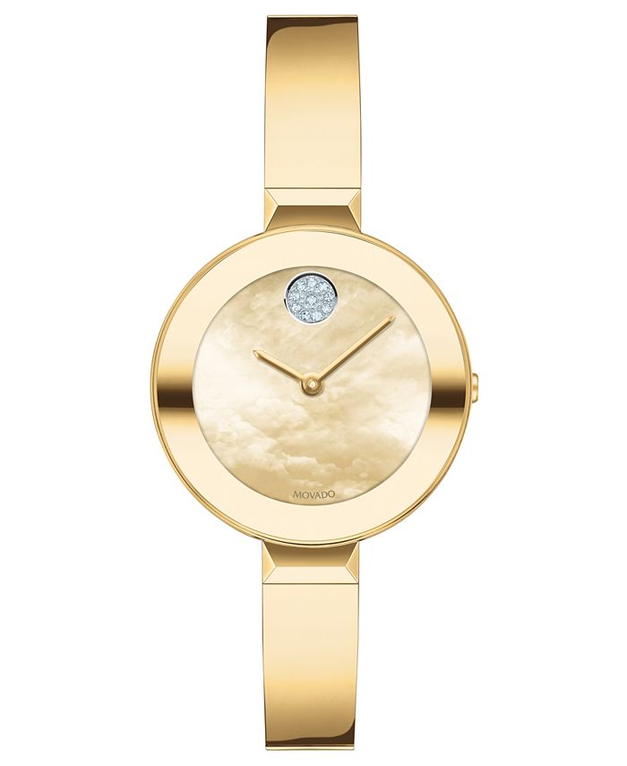 Movado - Women's Swiss Bold Gold Ion-Plated Stainless Steel Bangle Bracelet Watch 28mm