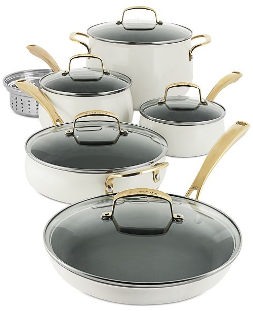 Belgique Aluminum 11 Pc White Cookware Set Created For Macy S Reviews Cookware Kitchen Macy S