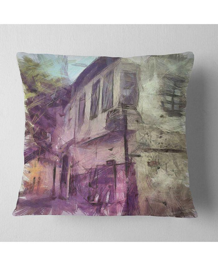 Design Art Designart Old City Street Watercolor Sketch Cityscape Throw Pillow 18 X 18 Reviews Decorative Throw Pillows Bed Bath Macy S