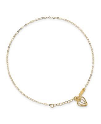 14K Gold Two Tone Oval Link Diamond Cut Beads /& Heart Anklet Jewelry 9