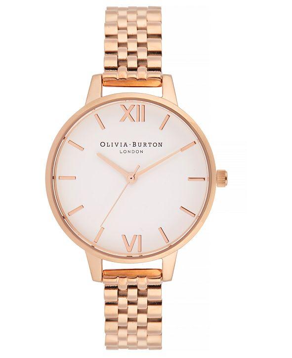 Olivia Burton Women's Rose Gold-Tone Stainless Steel Bracelet Watch 34mm