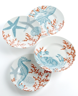 222 Fifth Dinnerware, Set of 4 Coastal Life Assorted Dessert Plates $ 50.00