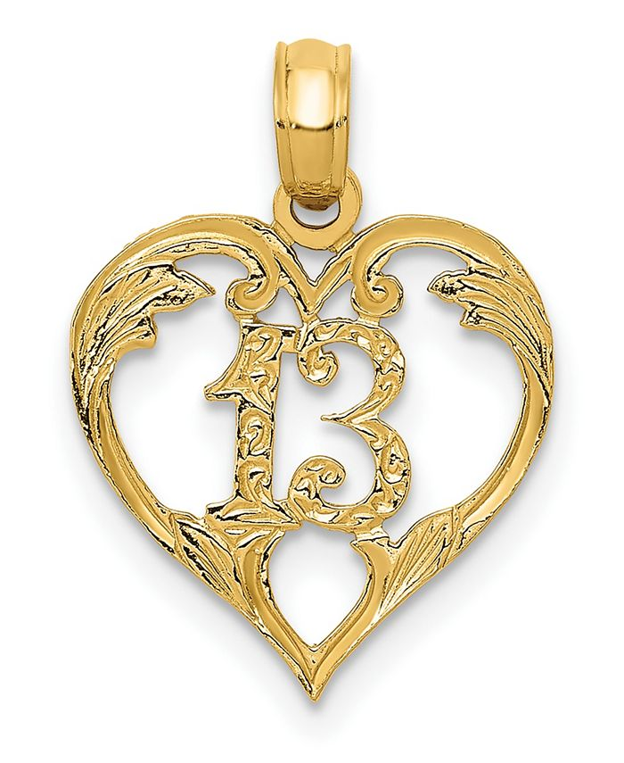 Macy's - 13 in Heart Pendant in 14k Yellow Gold