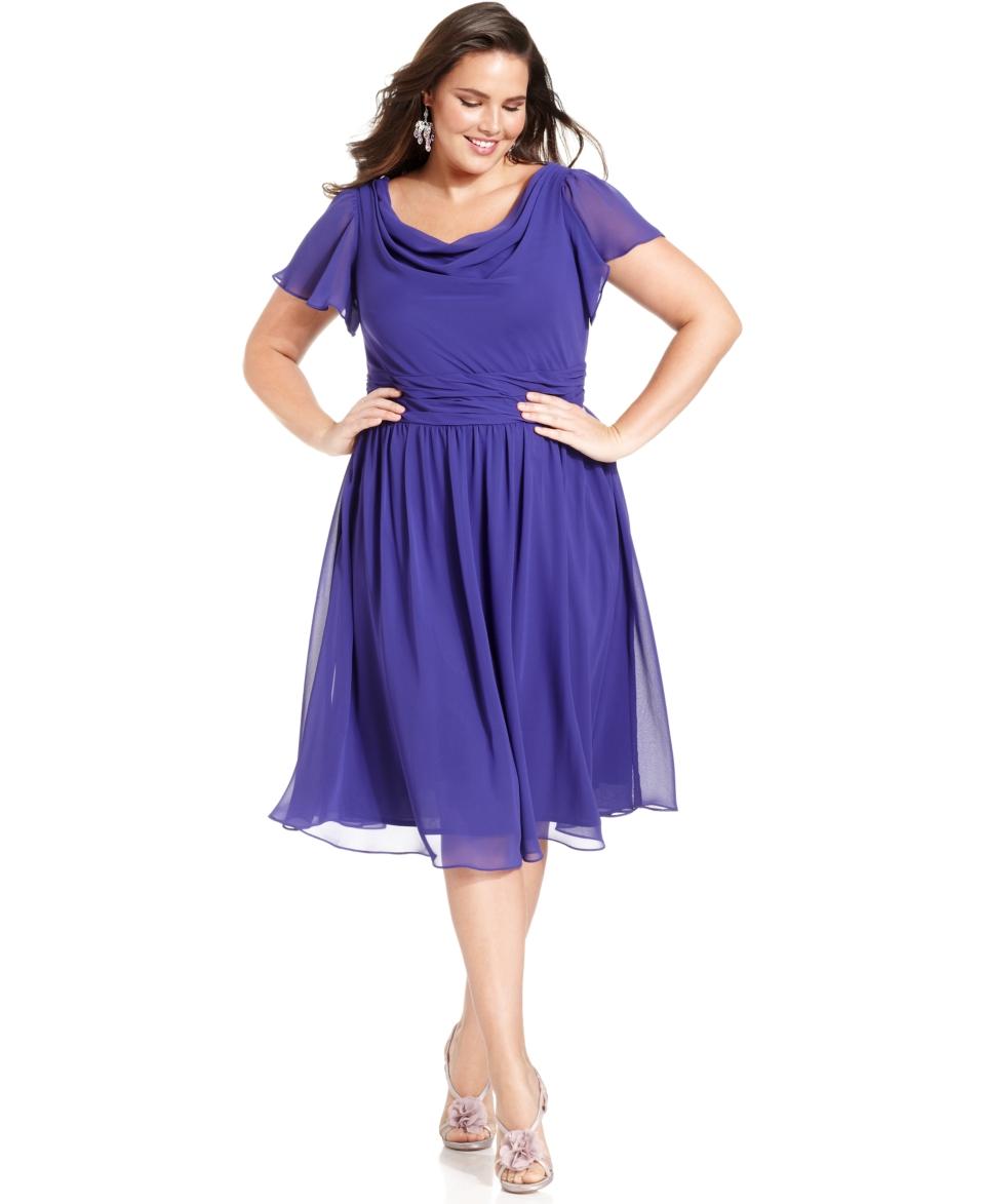 SL Fashions Plus Size Dress, Short Sleeve Cowl Neck