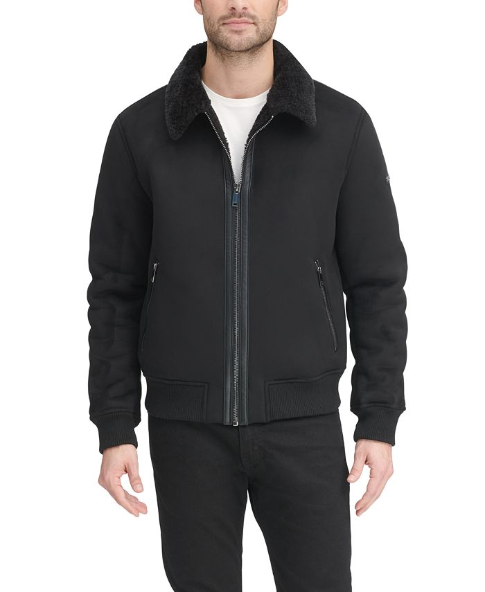 DKNY - Men's Faux Shearling Bomber Jacket with Faux Fur Collar