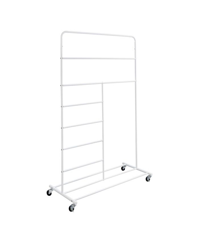 Honey Can Do - Rolling Multi-Section T-Bar Clothes Drying Rack, White