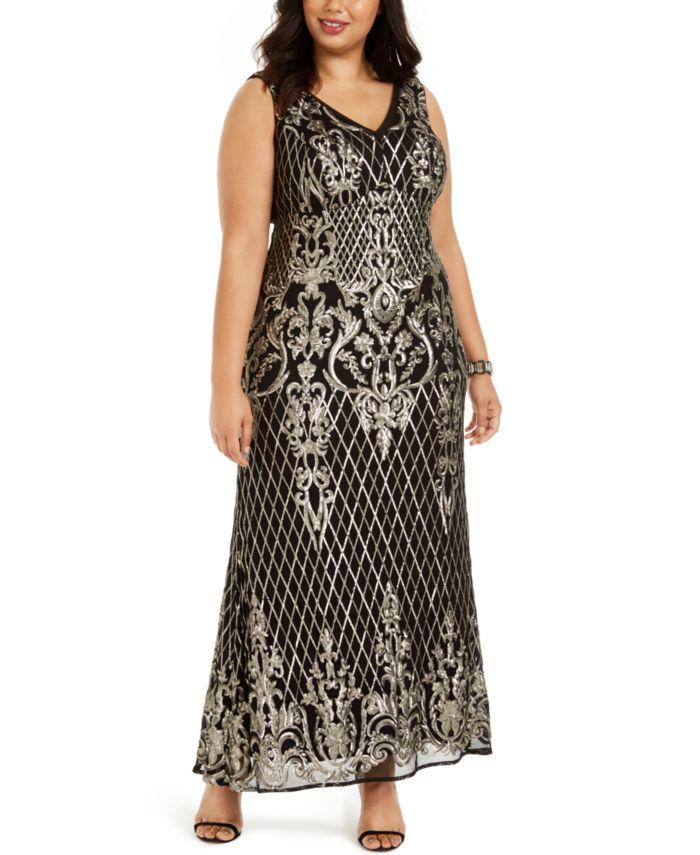 R & M Richards Plus Size Gold-Tone Sequin Gown & Reviews - Dresses - Plus Sizes - Macy's