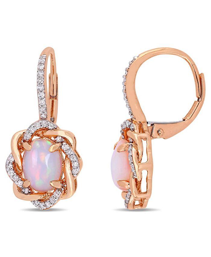 Macy's - Blue-Hued Opal (1-1/2 ct. t.w.) and Diamond (1/4 ct. t.w.) Halo Swirl Earrings in 10k Rose Gold