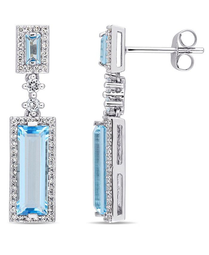 Macy's - Baguette Cut Blue Topaz (4-1/5 ct. t.w.) and Diamond (1/3 ct. t.w.) Drop Earrings in 14k White Gold