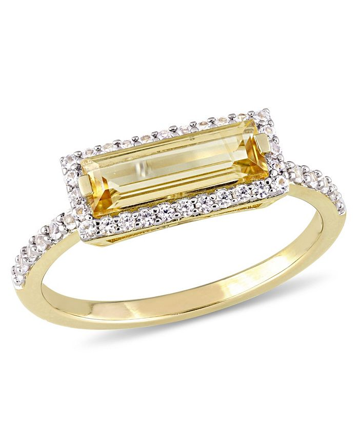 Macy's - Baguette Cut Citrine  (1-1/5 ct. t.w) and White Sapphire (1/3 ct. t.w.) Halo Ring in 18k Yellow Gold Over Sterling Silver