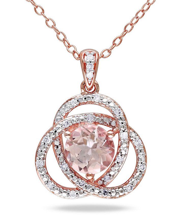 "Macy's - Morganite (1-1/6 ct. t.w.) and Diamond (1/10 ct. t.w.) Trillium 18"" Necklace in Rose Gold Over Silver"