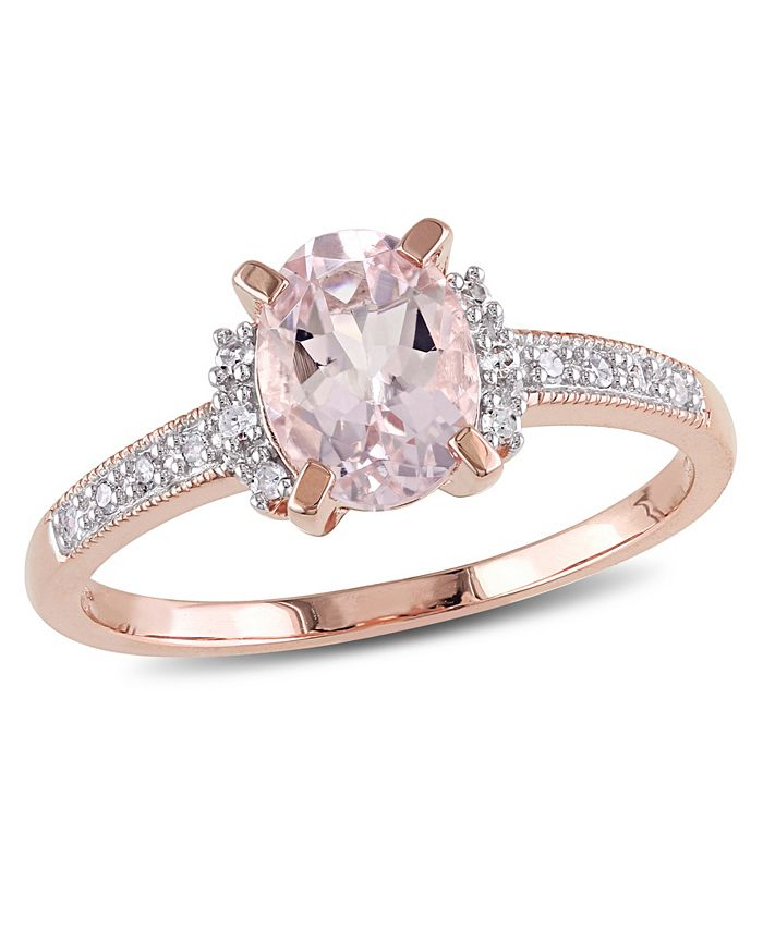 Macy's - Morganite (1-1/7 ct. t.w.) and Diamond (1/20 ct. t.w.) Ring in 18k Rose Gold Over Sterling Silver