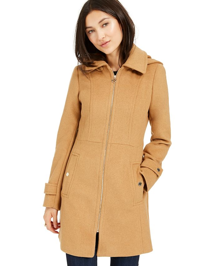 Michael Kors Petite Hooded Stand Collar Coat Created For Macy S Reviews Coats Petites Macy S