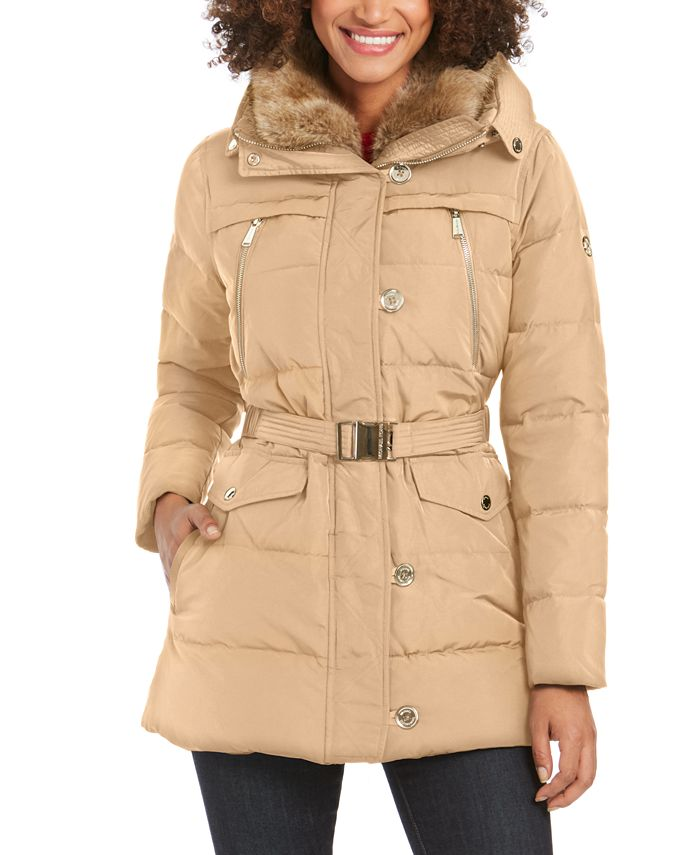 Michael Kors - Belted Faux-Fur Collar Hooded Down Coat