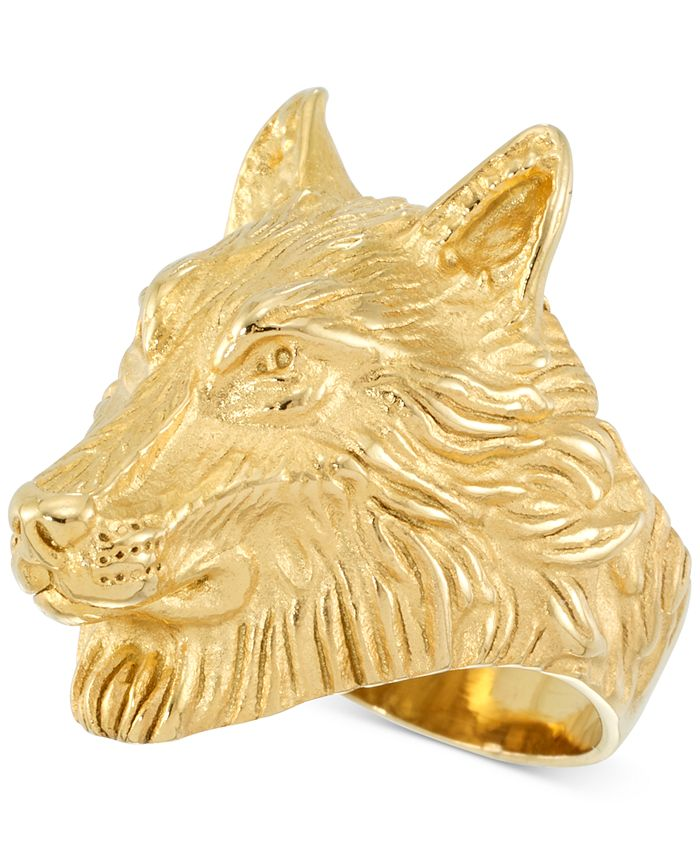 LEGACY for MEN by Simone I. Smith - Men's Wolf Ring in Yellow Ion-Plated Stainless Steel
