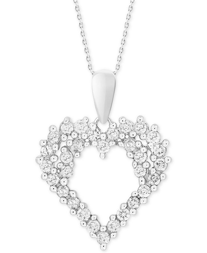 """Macy's - Diamond Cluster 18"""" Pendant Necklace (1/4 ct. t.w.) in 14k White Gold"""