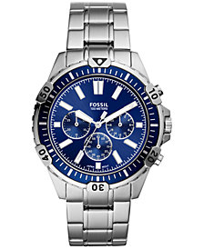 Fossil Men's Chronograph Garrett Stainless Steel Bracelet Watch 44mm