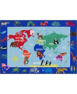 "Elementary World Map Blue 6'6"" x 9'5"" Area Rug"
