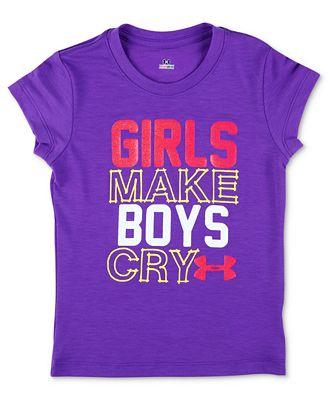 Under Armour Baby T-Shirt, Baby Girls Slogan Girls Make Boys Cry Tee ...  Under Armour Slogan
