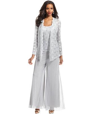Alex Evenings Lace Jacket Set Amp Wide Leg Chiffon Dress Pants Women Macy S