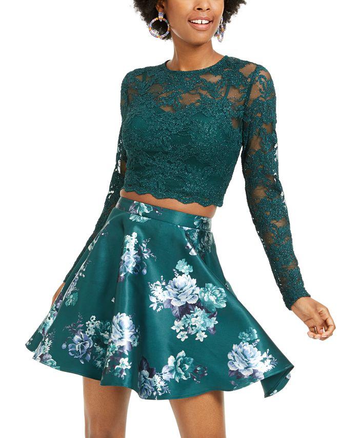 City Studios - Juniors' 2-Pc. Lace Top & Floral-Print Skirt