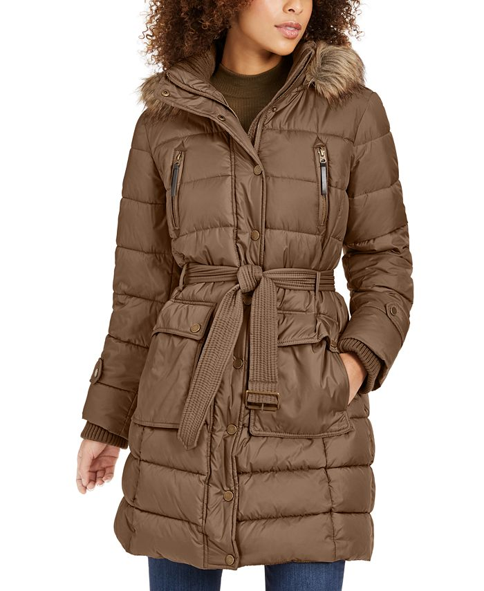 Lucky Brand - Hooded Faux-Fur-Trim Puffer Coat