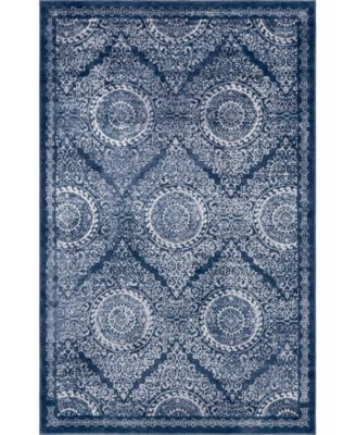 Anika Ani3 Navy Blue 8' x 11' Area Rug