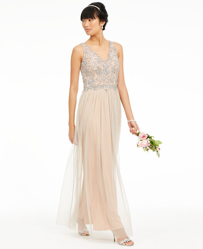 Adrianna Papell - V-Neck Beaded Mesh Gown