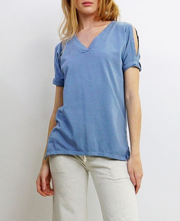 COIN 1804 Womens Cotton V-Neck Cold Shoulder Tee