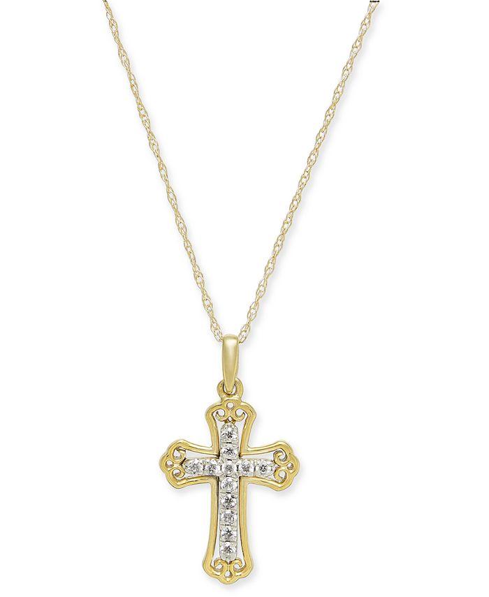 "Macy's - Diamond Cross 18"" Pendant Necklace (1/10 ct. t.w.) in 14k Gold & 14k White Gold"