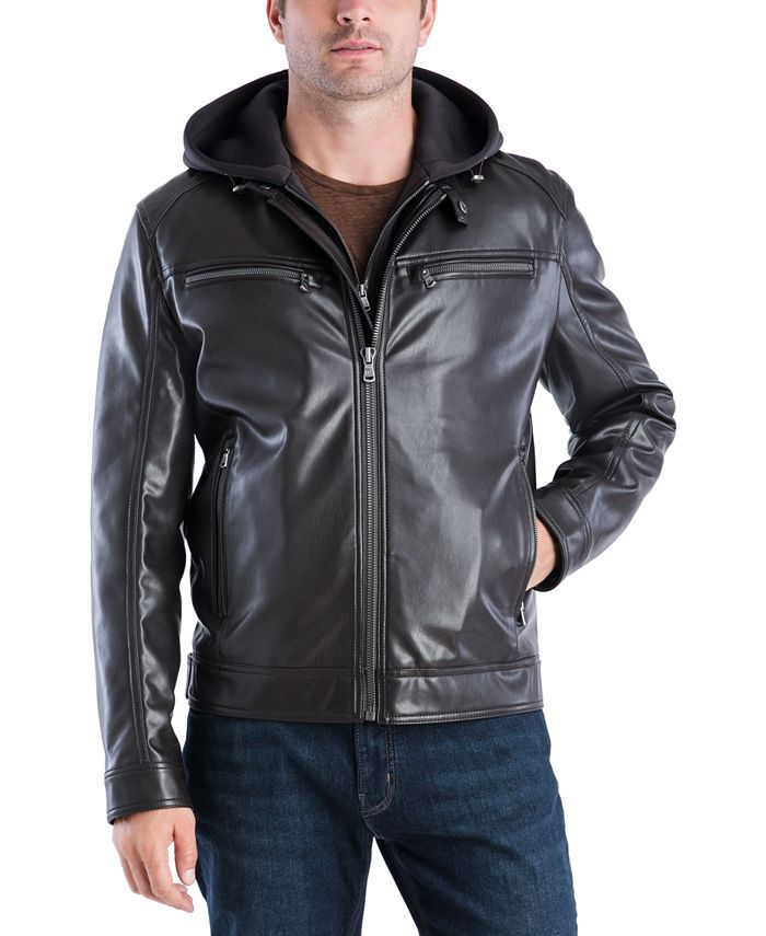 Michael Kors - Faux-Leather Contrast-Hood Bomber Jacket