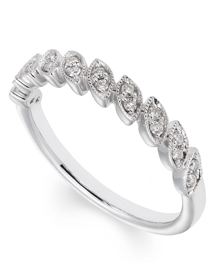 Macy's - Certified Diamond (1/6 ct. t.w.) Band in 14K White Gold
