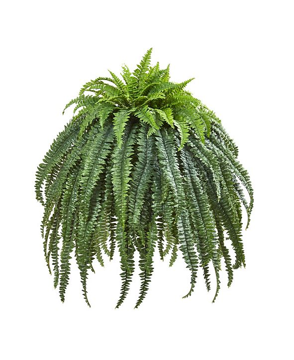 """Nearly Natural 56"""" Giant Boston Fern Artificial Plant in Cement Bowl"""