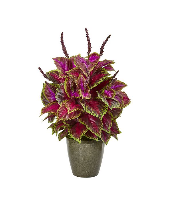 """Nearly Natural 31"""" Coleus Artificial Plant in Green Planter"""