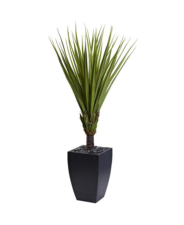 "Nearly Natural 65"" Spiky Agave Artificial Tree in Black Planter"