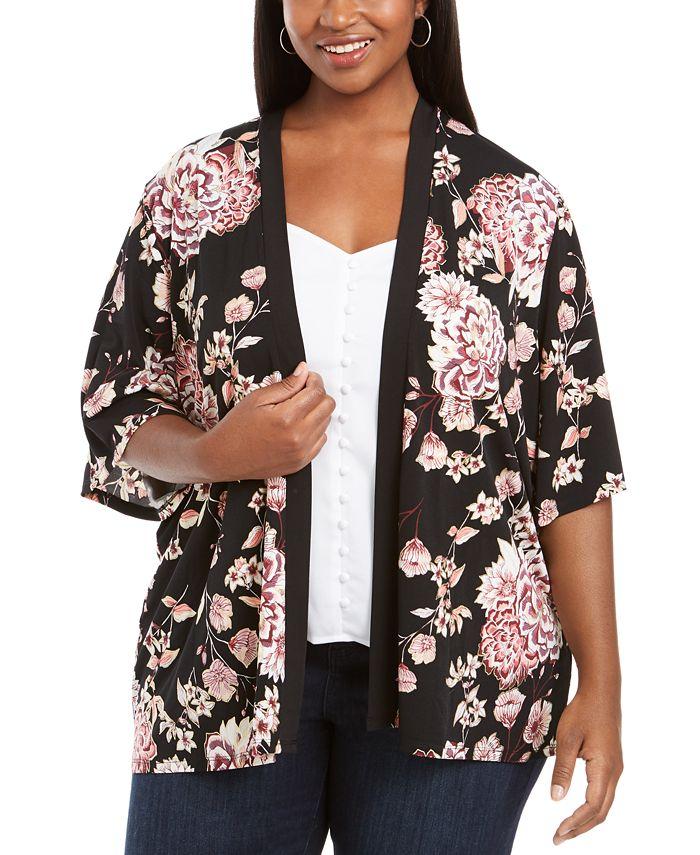 Belldini - Plus Size Floral-Print Open-Front Cardigan